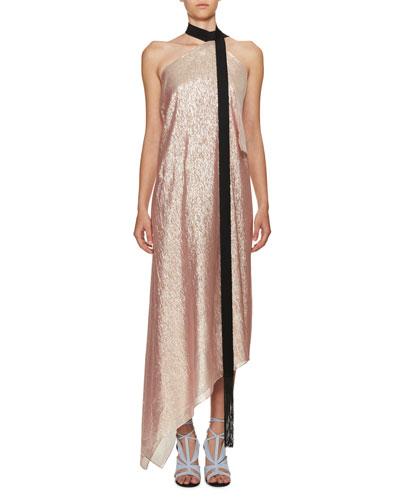 Copernicus Metallic Georgette Halter Dress, Pink/Black
