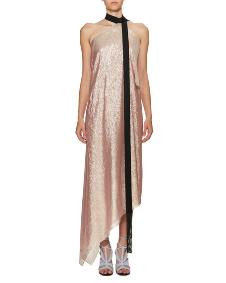 Roland Mouret Copernicus Metallic Georgette Halter Dress,