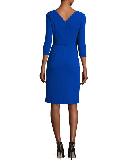 Twist-Front 3/4-Sleeve Cocktail Dress, Blue