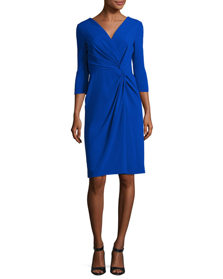 Escada Twist-Front 3/4-Sleeve Cocktail Dress, Blue