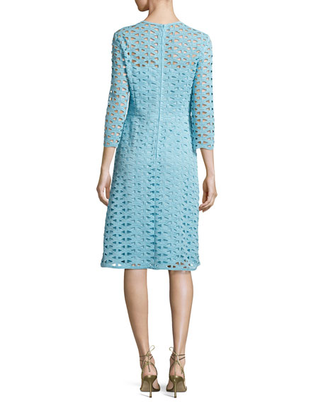 Eve Macramé Lace 3/4-Sleeve Dress, Blue