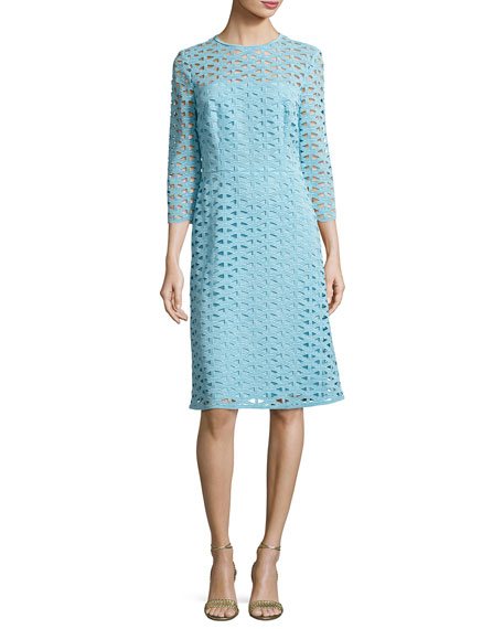 Escada Eve Macramé Lace 3/4-Sleeve Dress, Blue