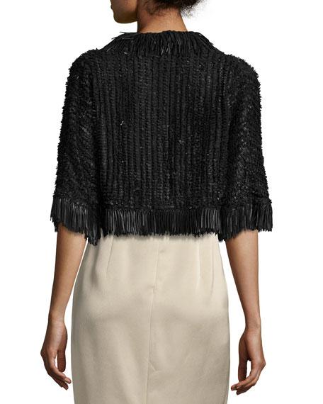 Fringe-Trim Braided Leather Bolero Jacket, Black