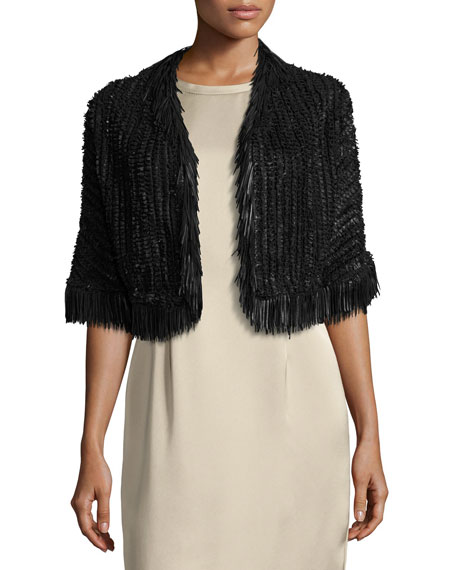 Escada Fringe-Trim Braided Leather Bolero Jacket, Black