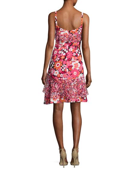 Ruffled Floral-Print Silk Slip Dress, Pink