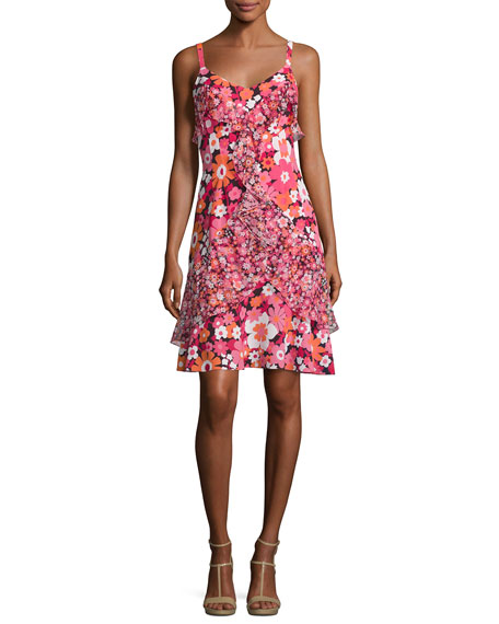 Michael Kors Collection Ruffled Floral-Print Silk Slip Dress,