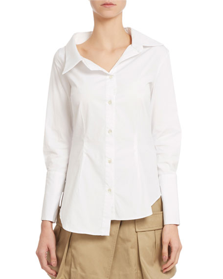 Asymmetric Stretch Poplin Blouse, White