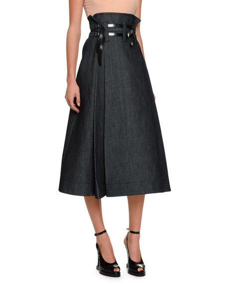 Bottega Veneta Wide Box-Pleat Denim Midi Skirt with