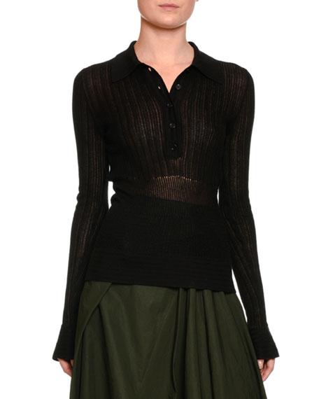 Bottega Veneta Long-Sleeve Ajour Stitch Knit Polo, Black