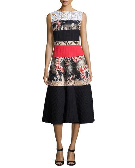 Konzert Mixed-Fabric Tiered Dress, Black