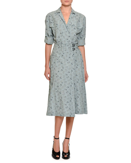 Bottega Veneta Butterfly-Print Belted Midi Shirtdress, Blue