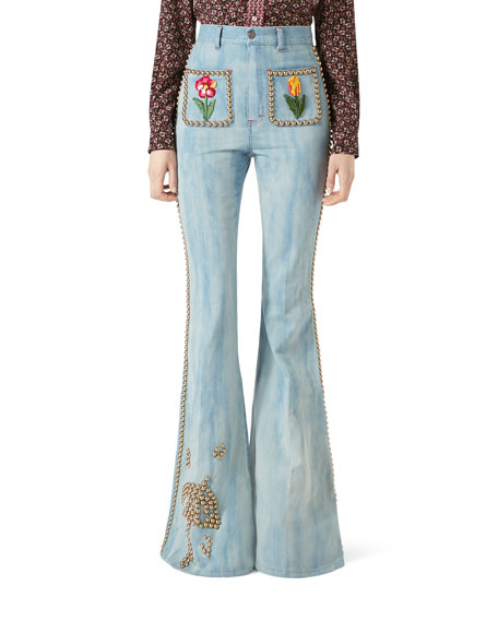 Embroidered Denim High-Waist Flare Pants with Studs, Light Blue
