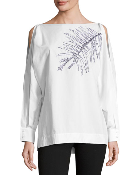 Escada Leaf-Embroidered Cold-Shoulder Blouse, White