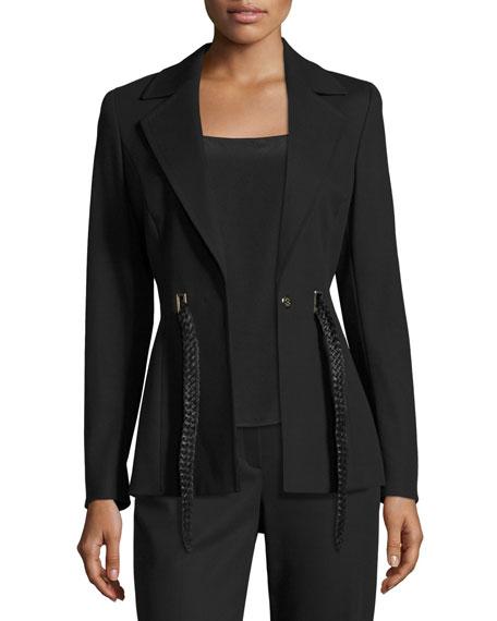 Belted Notch-Collar Jacket, Black