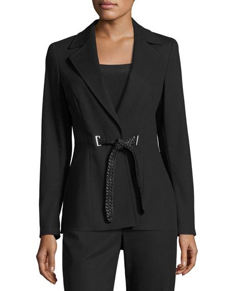 Escada Belted Notch-Collar Jacket, Black