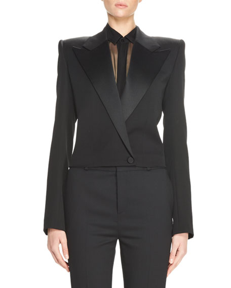 Iconic Le Smoking Spencer Fitted Jacket, Black