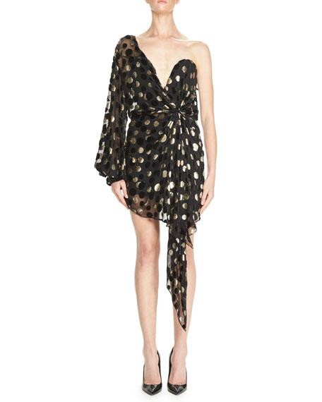 One-Shoulder Metallic-Dot Bustier Minidress, Black/Gold