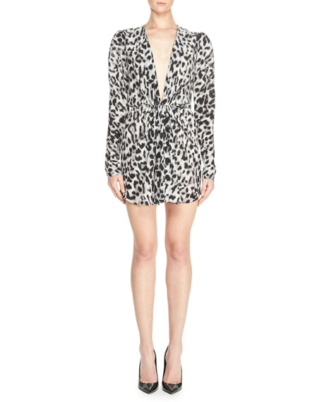 Leopard-Print Plunging Long-Sleeve Minidress, Black/Gray