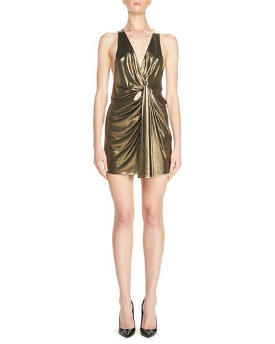Lamé Twist-Front Minidress, Bronze