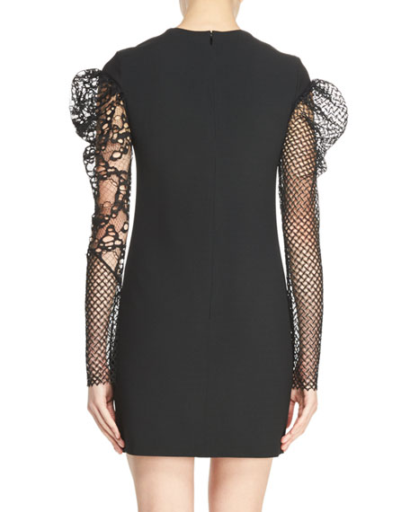 Fitted Minidress with Lace & Mesh Sleeves