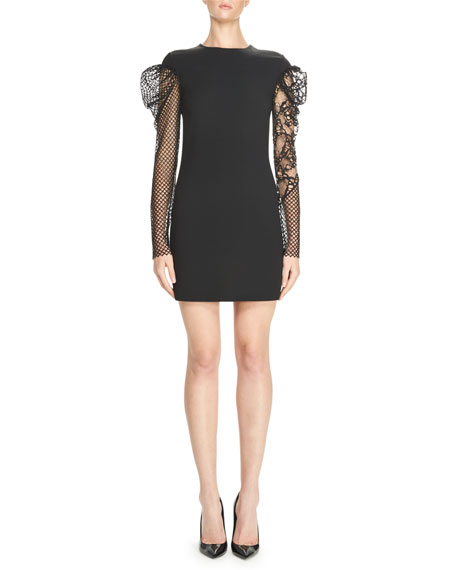 Saint Laurent Fitted Minidress with Lace & Mesh
