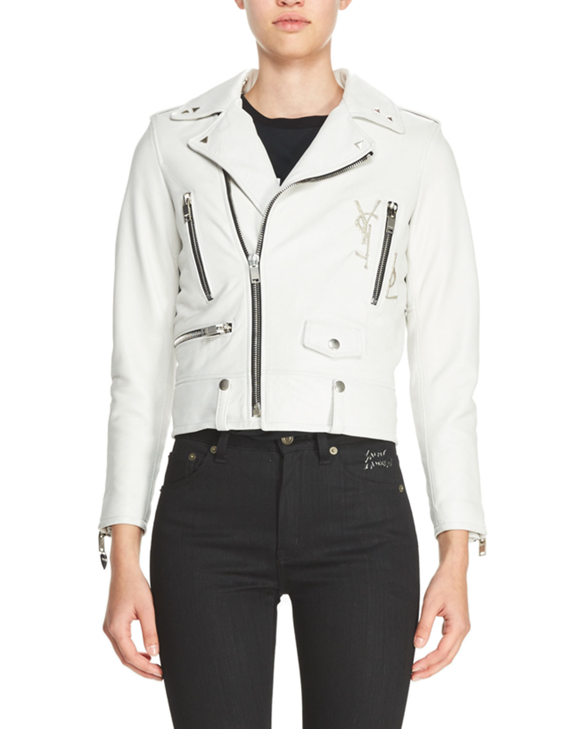 f9a7e4af8 L01 Leather Motorcycle Jacket with Deconstructed Logo, White