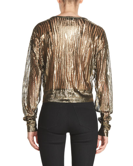 Metallic Burnout Cropped Sweater, Gold