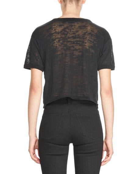 Université Saint Laurent Cropped Burnout T-Shirt, Black/White