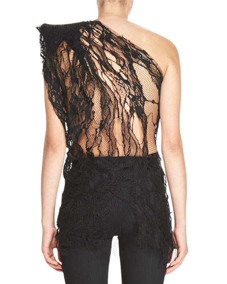 Distressed Lace One-Shoulder Top