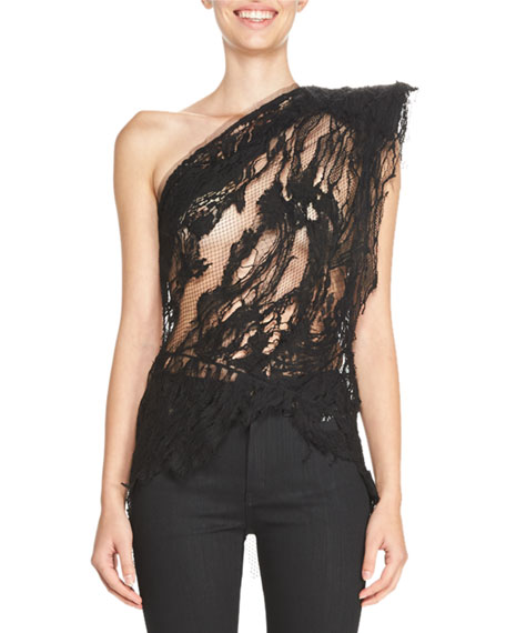 Distressed Lace One-Shoulder Top, Black