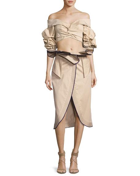 Farallones Belted Midi Skirt, Beige