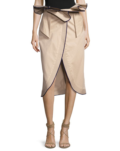 Johanna Ortiz Farallones Belted Midi Skirt, Beige