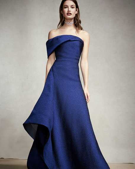 Textured Organza Off-the-Shoulder Side-Drape Gown, Blue