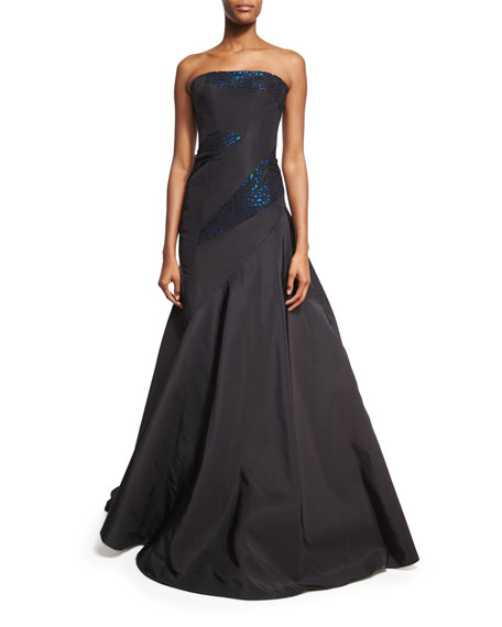 Rubin Singer Strapless Gown with Metallic Leather Trim,