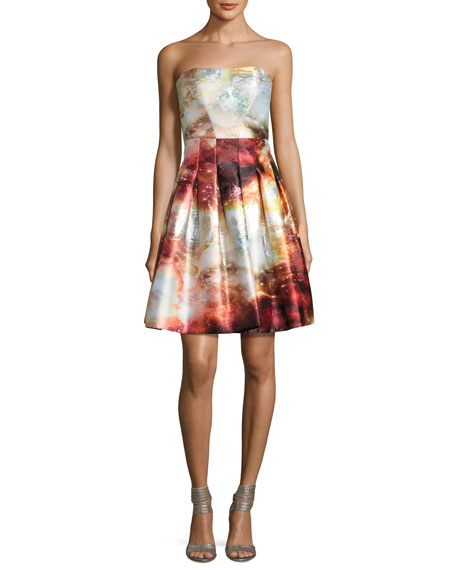Meteor Jacquard Strapless Fit & Flare Cocktail Dress, Multicolor