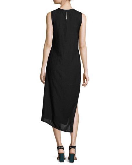 Sleeveless Bias-Cut Linen Midi Dress, Black