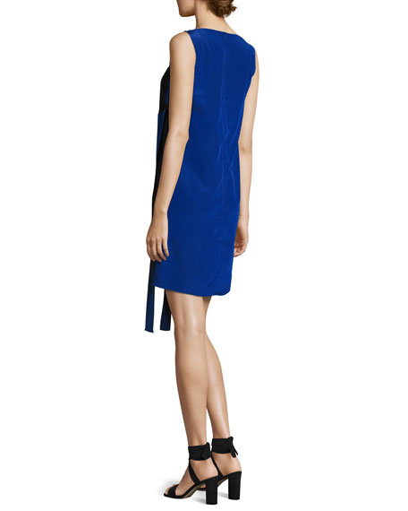 Sleeveless Front-Sash A-Line Dress, Black/Azul