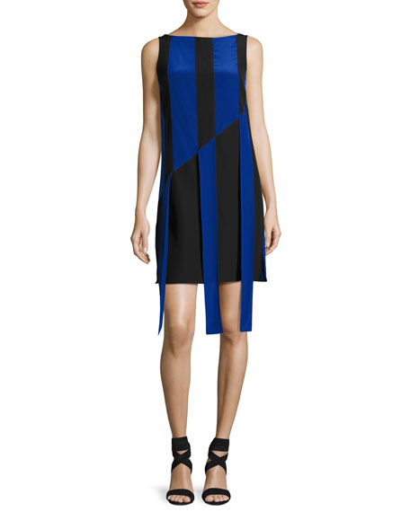 Akris Sleeveless Front-Sash A-Line Dress, Black/Azul