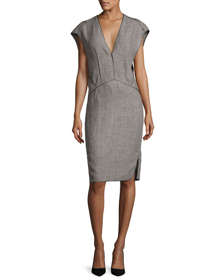 Narciso Rodriguez Cap-Sleeve Linen Sheath Dress with Binding,