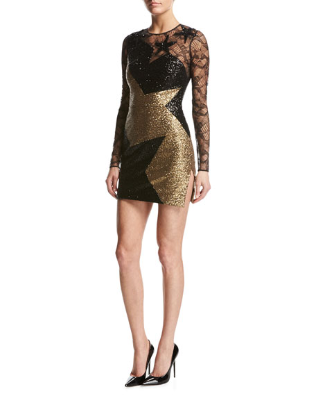 Star Paillette & Lace Long-Sleeve Minidress, Black/Gold