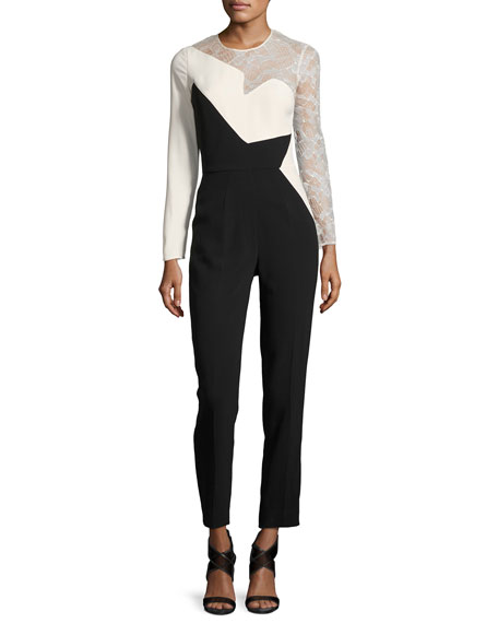 Elie Saab Lace-Inset Long-Sleeve Jumpsuit, Black/White