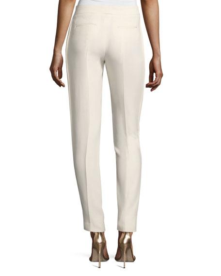 Straight-Leg Satin-Trim Pants, White