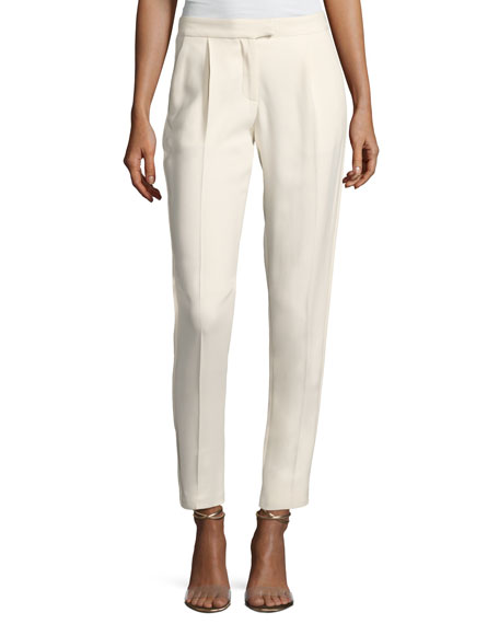 Elie Saab Straight-Leg Satin-Trim Pants, White
