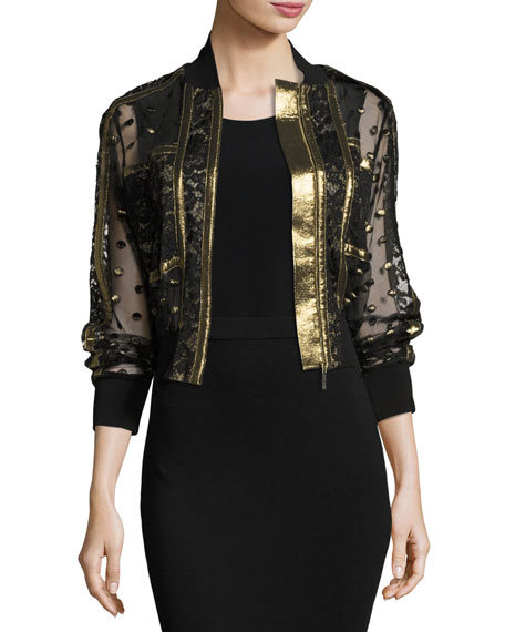 Elie Saab Embroidered Tulle & Lace Bomber Jacket,