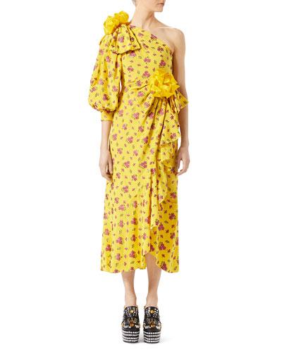 GUCCI One-Shoulder Metallic Silk-Blend Jacquard Midi Dress