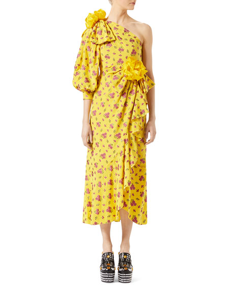 Little Flower Georgette One-Shoulder Gown, Yellow