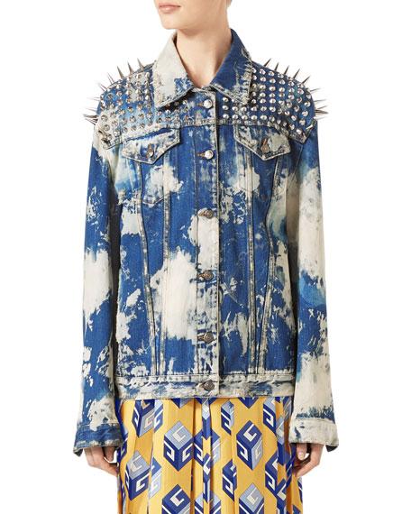 Washed Denim Oversized Jacket with Studs, Light Blue