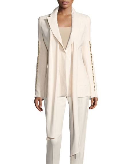 Elie Saab Botton-Sleeve Blazer with Scarf, White