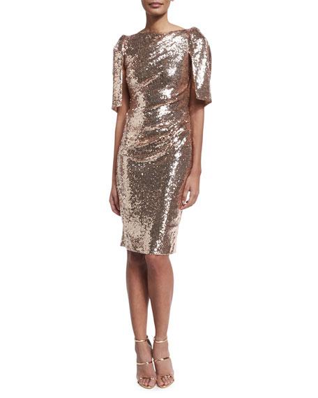 Lobata Cape-Sleeve Sequined Sheath Cocktail Dress, Rose Golden