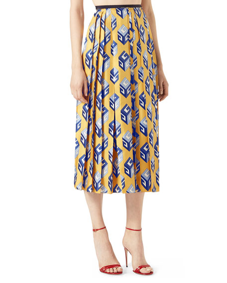 Gucci GG Wallpaper Silk Twill Pleated Skirt, Yellow